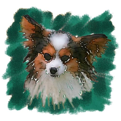Jacque is a champion Papillon owned by Elisa Kamens, who bred John's own Didi.  John made this artwork from a photo he took at one of Elisa's Papillon Reunions.